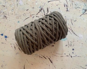 Braidy recycling yarn, 213,2 ft (65 m),  4 mm,GRANITE GRAY macrame cotton,  4 mm, cotton rope
