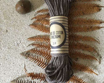 Bundle ( 100 ft)  of cotton cord for macrame , diameter 3mm ( 9 ga), made in france BROWN