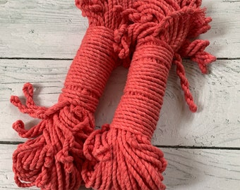 macrame cotton 3 mm 2-ply twisted  rope PINK CORAL  / macrame rope / twisted cotton 98  feet ( 30 meters), macrame cotton cord