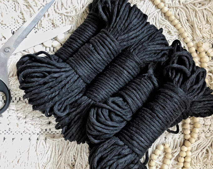 Featured listing image: Macrame cotton string, 98 ft (30 m), 5 mm, macrame cotton,BLACK raw single twist 5 mm, cotton rope