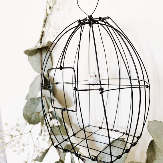 Wire bird cage, Wire cage, unique piece , handmade in france, wire sculpture