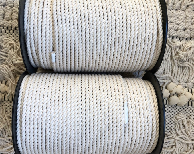 around 328 ft (100 meters ) of cotton rope for macrame , diameter 5 mm, beautiful quality made in france , macrame cotton.
