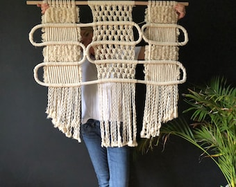 ENDLESS LINE;  Big macrame wallhanging. Available