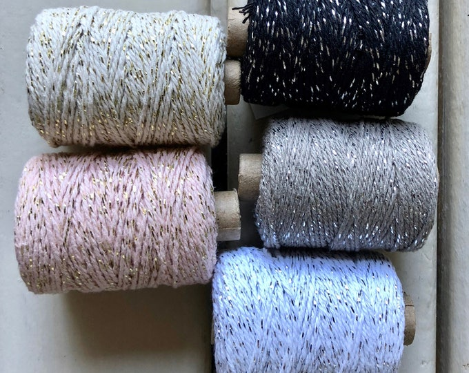 Glittered (gold) cotton cord in 1 mm - 50 m White, Black, grey, ivory, pink