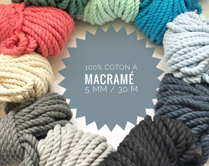 Bundle ( 100 ft)  of 2 ply twisted cotton rope for macrame , diameter 5 mm / MACRAME cord/macrame cord / 5 mm cotton