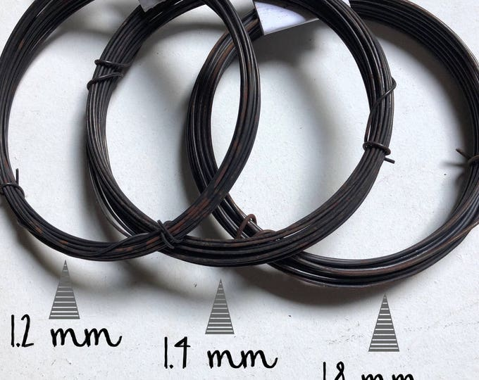 Coil of steel black  wire, nealed diameter 1.2 mm / 1.4 mm / 1.8 mm ( ga 16 / 15/ 13 )  - 10 mètres ( 32.8 ft)