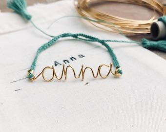 handmade gold wire and knots rope bracelet. Personalized bracelet. gold message jewel. wire bracelet