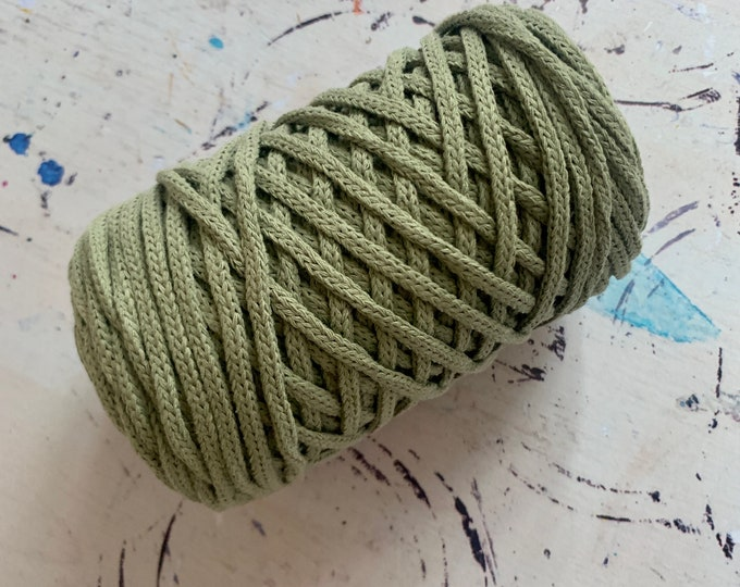 Braidy recycling yarn, 213,2 ft (65 m),  4 mm,GREEN REED macrame cotton,  4 mm, cotton rope