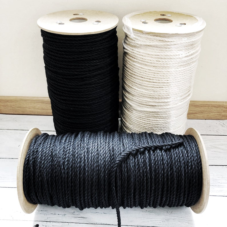 Macrame cotton cord/ 1000 ft 304 m  / 6 mm / 3 ply / black image 0