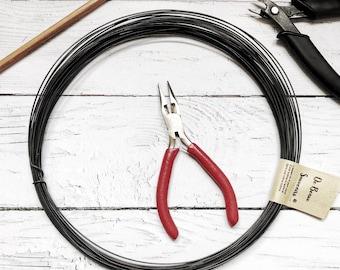 Steel black wire, annealed wire  1  mm ( ga 18) 20 m ( 65,6 ft ) rusty craft wire / Steel craft wire / wire 1  mm / black iron wire