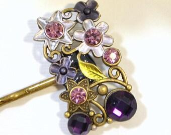Purple Bobby Pin Flower Hair Pin Purple Bobbies Handmade Hair Accessories Bridal Hair Clip