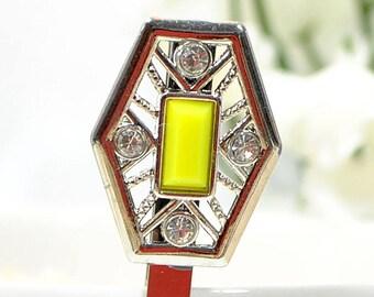 Yellow Bobby Pin Art Nouveau Hair Pin Embellished Bobby Pin Yellow Bobbies