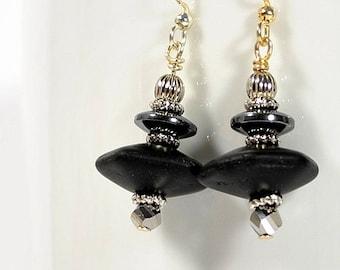 Black Earrings Dangle Earrings Drop Earring Black Silver One of a Kind Handmade Jewelry Lever Back Earring Sterling Silver