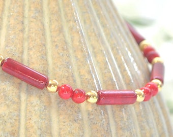 Red Ankle Bracelet Adjustable Anklet Minimalist Anklet Beaded Ankle Bracelet Handmade Jewelry