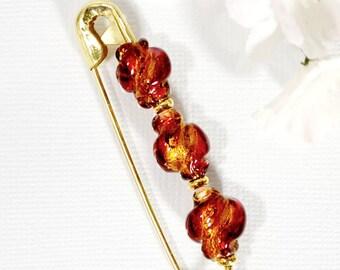 Scarf Pin Hijab Pin Red Gold Sarong Pin Decorative Pin Handmade Red Gold Scarf Pin Sarong Pin Brooch