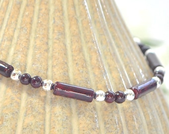 Dark Red Ankle Bracelet Small Anklet Minimalist Anklet Beaded Ankle Bracelet Handmade Jewelry