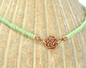 Celtic Anklet Green Copper Celtic Ankle Bracelet Adjustable Anklet Handmade Jewelry Celtic Jewelry