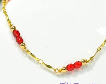Chain Anklet Red Ankle Bracelet Gold Chain Anklet Handmade Anklet 9.5 inch Anklet Red Ankle Bracelet Beaded Chain Anklet