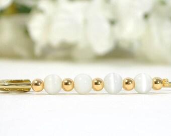 White Scarf Pin Hijab Pin White Sarong Pin White Gold Scarf Pin Beaded Safety Pin