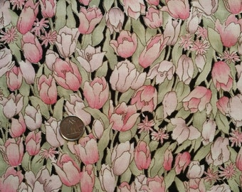 BK003 ~ Black fabric Pink tulips Floral fabric Quilting fabric Quilt fabric 2 yards