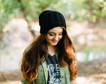 The Classic Knit Slouchy Hat in Black // Handknit Black Floppy Hipster Unisex Hat // Loose-fit Knit Hat
