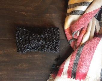 Knitted Turban Headband in Charcoal Grey //