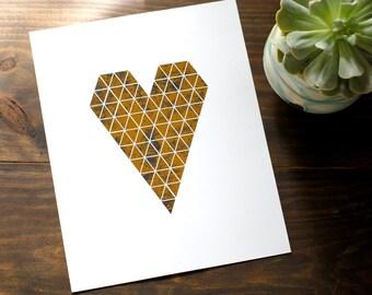 "Geo Gold Foil Heart Print // Distressed Gold Print Triangle Heart // Modern Wall Art Print Gold 8x10"""