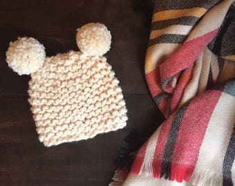 Baby and Toddler Double Pom Knit Beanie Hat