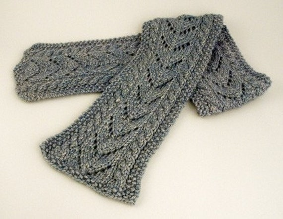 Aran Cable And Lace Scarf Knitting Pattern Pdf Etsy