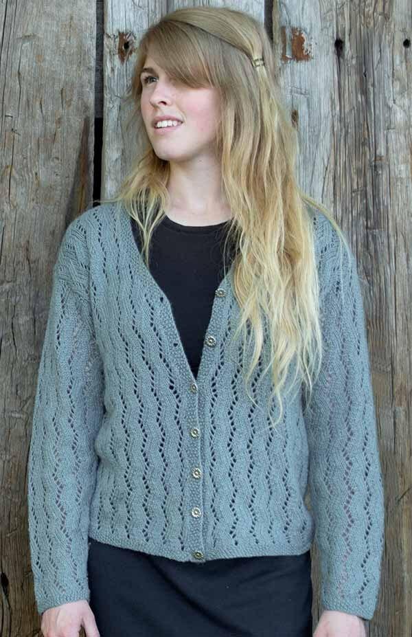 Zig Zag Lace Cardigan Knitting Pattern Pdf Etsy