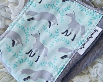 Baby burp cloth - Modern gray foxes hand dyed burp cloth