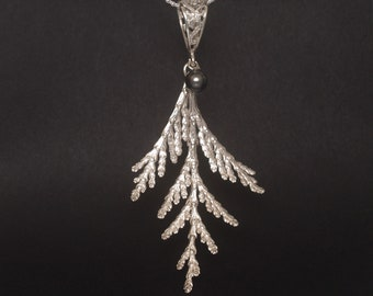 Sterling Silver Cypress Branch Pendant - OOAK - Up North Style - Nature Lover Gift