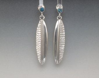 Cuttlebone Oval Earrings - Sterling Silver & Blue Topaz - Polished/Textured - Gemstone Statement Jewelry