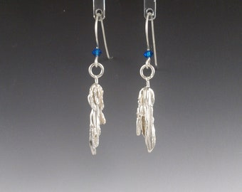 Sterling Silver & Blue Swarovski Crystal Broom Cast Asymmetric Earrings - OOAK -  Statement Jewelry - Holiday Gift