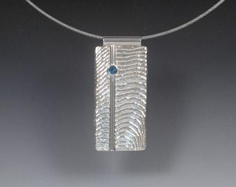Rippled Rectangle Sterling Silver Pendant - OOAK Designer Jewelry - Unique Cuttlebone Texture
