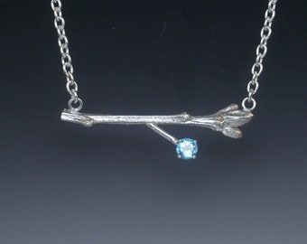 Sterling Silver Oak Twig Pendant Necklace with Gemstone - Nature Lover Gift - Up North Style