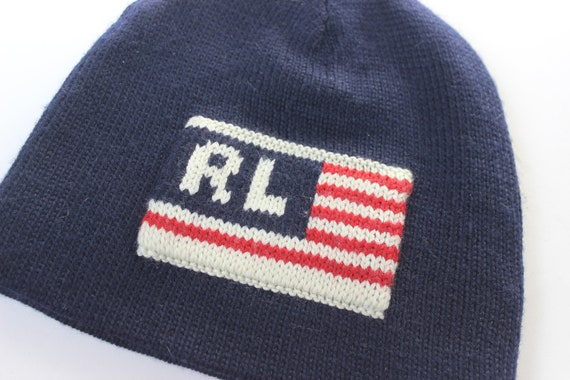 Vintage Ralph Lauren Flag Hat Stocking Cap Vintage Polo Jeans  0f0e0689164