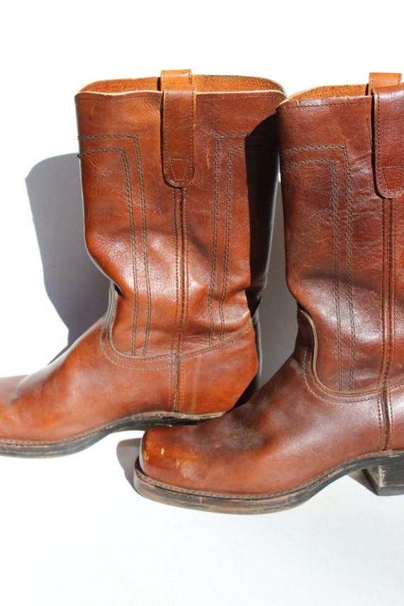 Vintage Cowboy Boots Square Toe Leather Campus Boo