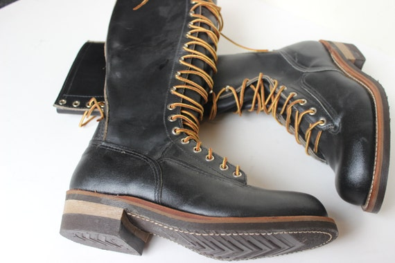 14c2aa4326e Karl Kuemmerling Lineman Boots Logging Tall Black Leather Lace Up Highliner  Chainsaw Work Boot Men's size 7 Rocker Boots Cool Boots