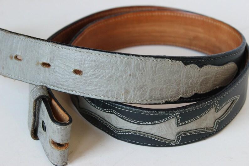 685d506799 Vintage Tony Lama Gold Label cuero occidental cinturón azul