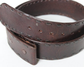 Vintage Belt Brown Whip Stitched Leather 38