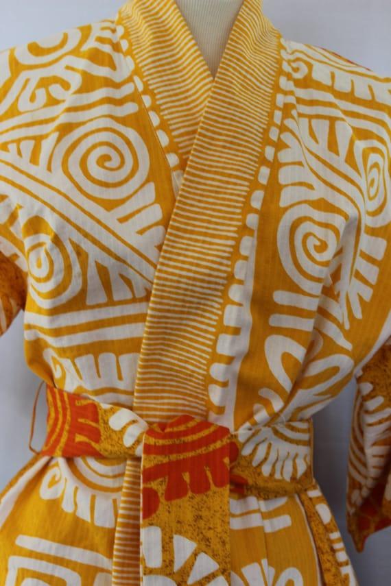 Vintage Kimono Jacket Tribal Pattern Cotton with B