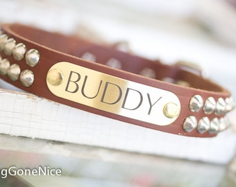 Personalized Pet Collar // Studded Leather Dog Collar // Custom Leather Dog Collar // Leather Collar // Pet Collar // Puppy Collar