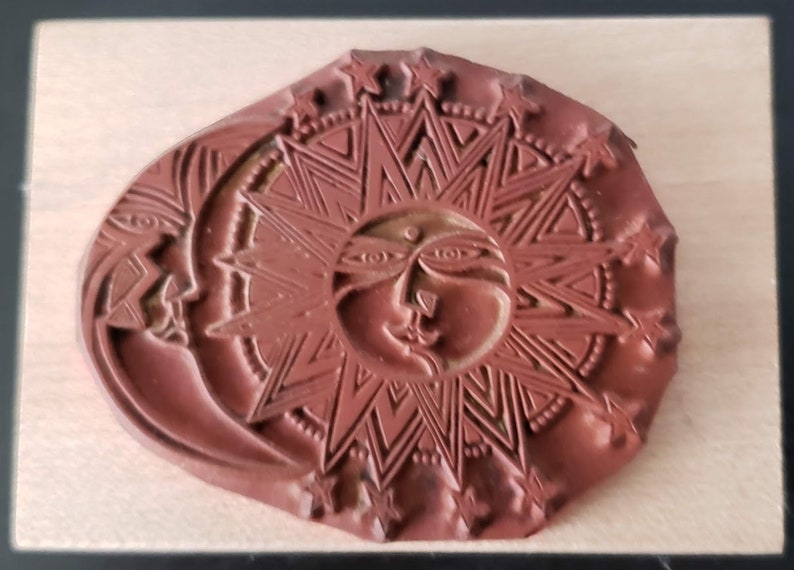 Laurel Burch Rubber Stamp Sister Sun Brother Moon 960H FREE shipping  All Night Media