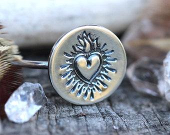 Sacred Heart Ring Sacred Heart Jewelry Heart Stacking Ring Sterling Silver Stacking Ring Silver Stacking Rings Stackable Rings Sacred Heart