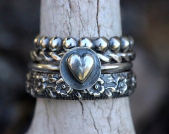 Stacking Ring Set Sterling Silver Stacking Rings Sterling Silver Ring Silver Stacking Ring Set Heart Ring Valentines Day Gift for Her