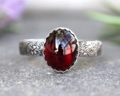 Silver Garnet Ring Sterling Silver Garnet Ring January Birthstone Silver Stacking Ring Silver Flower Band Floral Ring