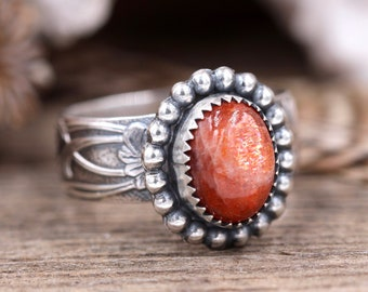 Silver Sunstone Ring Sterling Silver Sun Stone Ring Sunstone Jewelry Moonstone Ring Silver Ring With Stone Silver Stone Ring