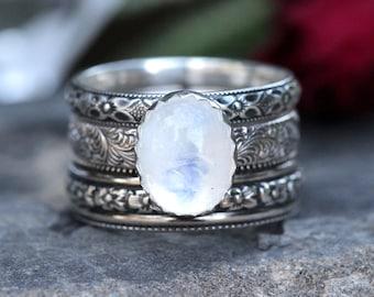 Rainbow Moonstone Ring, Moonstone Ring Set, Sterling Silver Moonstone Ring