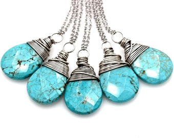 Long Turquoise Necklace Long Layering Necklace Large Stone Necklace Silver Turquoise Magnesite Necklace Turquoise Pendant Necklace